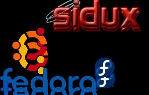 Logos: sidux, ubuntu, fedora