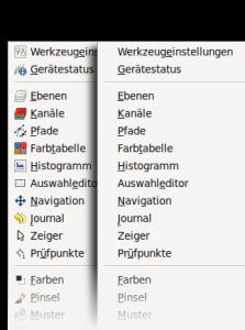 GIMP mit und ohne Symbolen